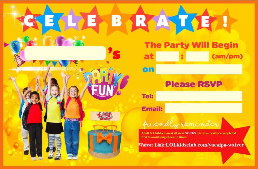 Yucaipa Party Invite